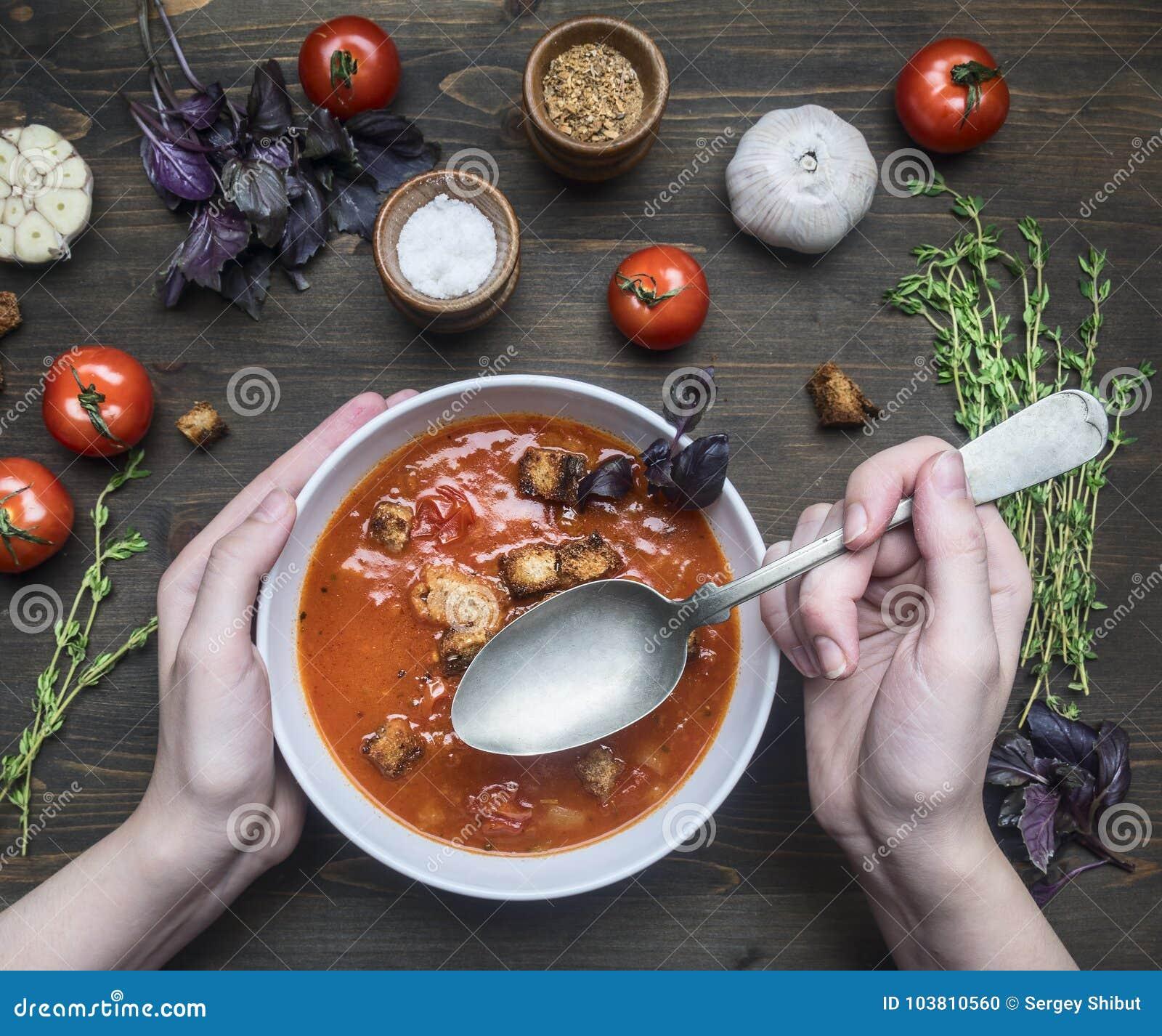 A sopa recentemente preparada do tomate com manjericão, alho e cebola, tomilho e temperos, em uma placa branca, menina escavou ac
