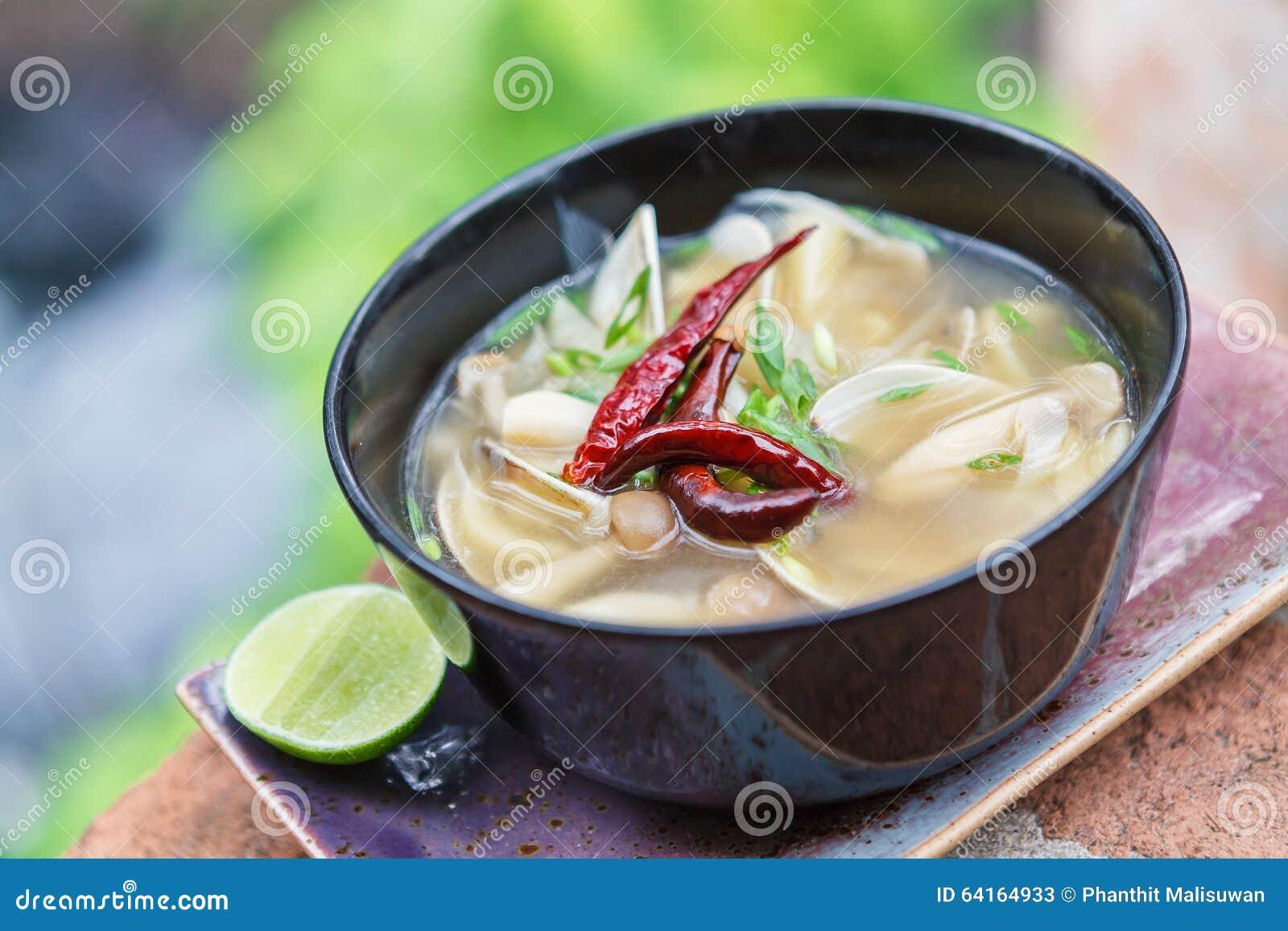 Sopa tailandesa de tom do cogumelo do alimento do vegetariano yum