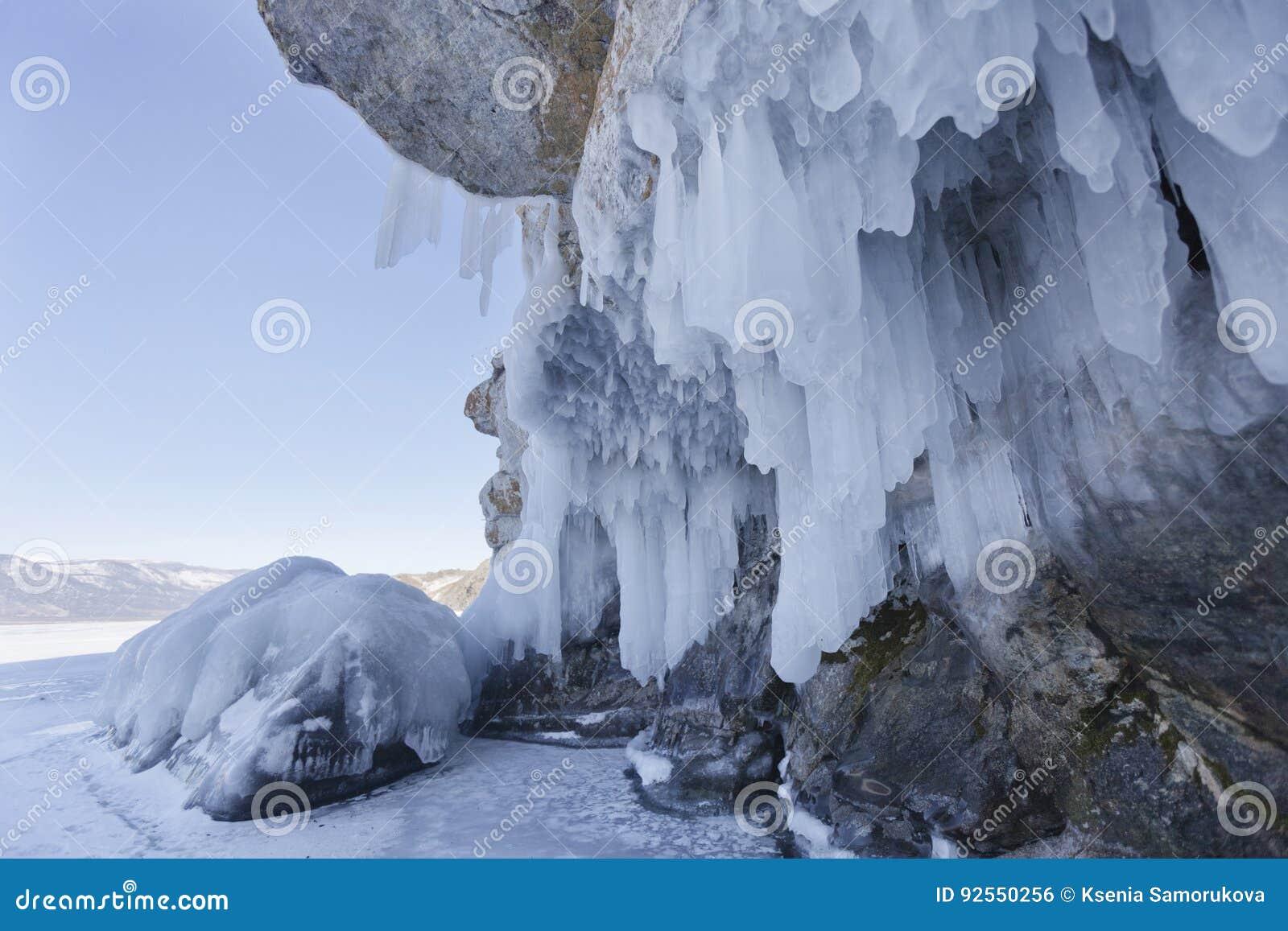 Sopel, Oltrek wyspa, Jeziorny Baikal Styczeń 33c krajobrazu Rosji zima ural temperatury
