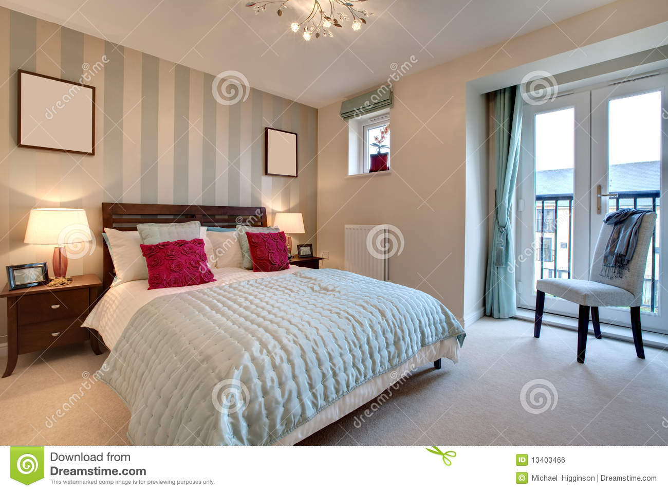 Sophisticated modern bedroom stock photo image of for Chambre a coucher moderne 2010