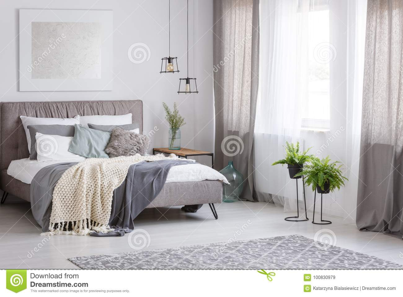 Download Sophisticated Soft Color Bedroom Stock Image   Image Of  Decorative, Flat: 100830979