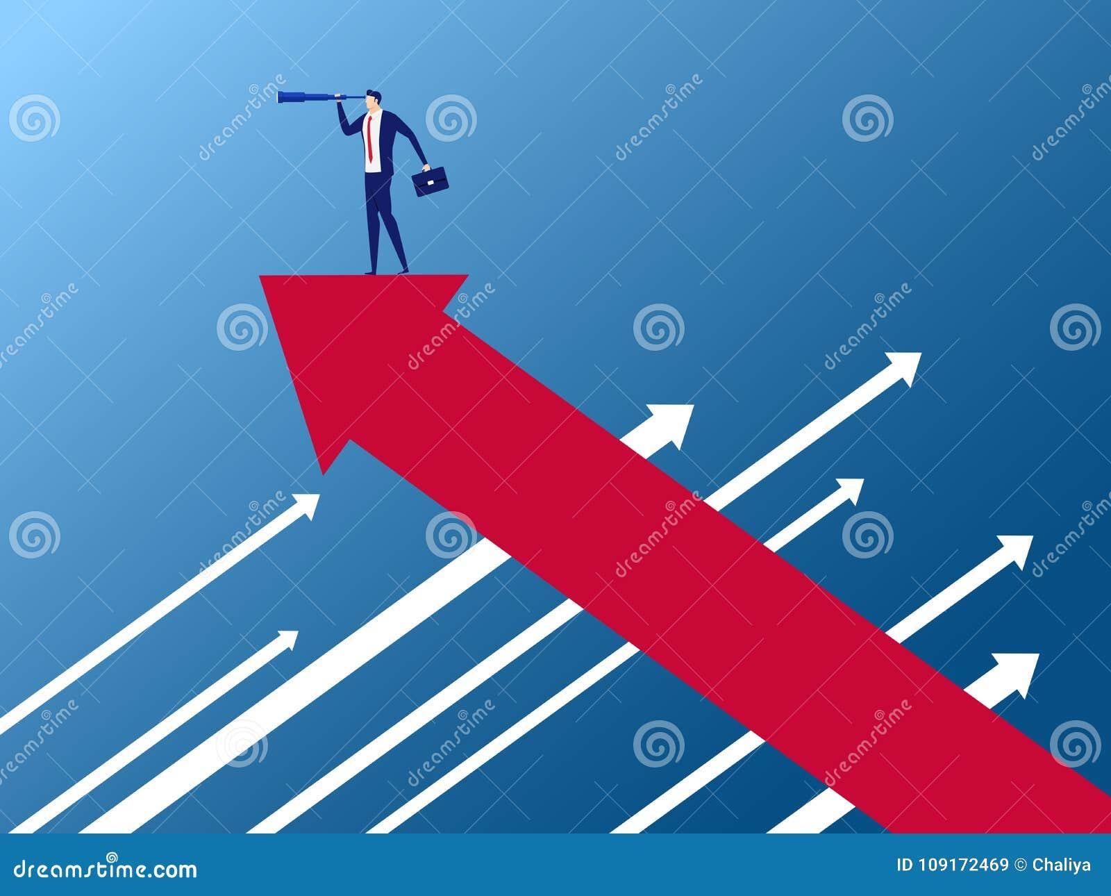 Soporte del hombre de negocios en gráfico del crecimiento de la flecha en la dirección opuesta usando el telescopio que busca éxi