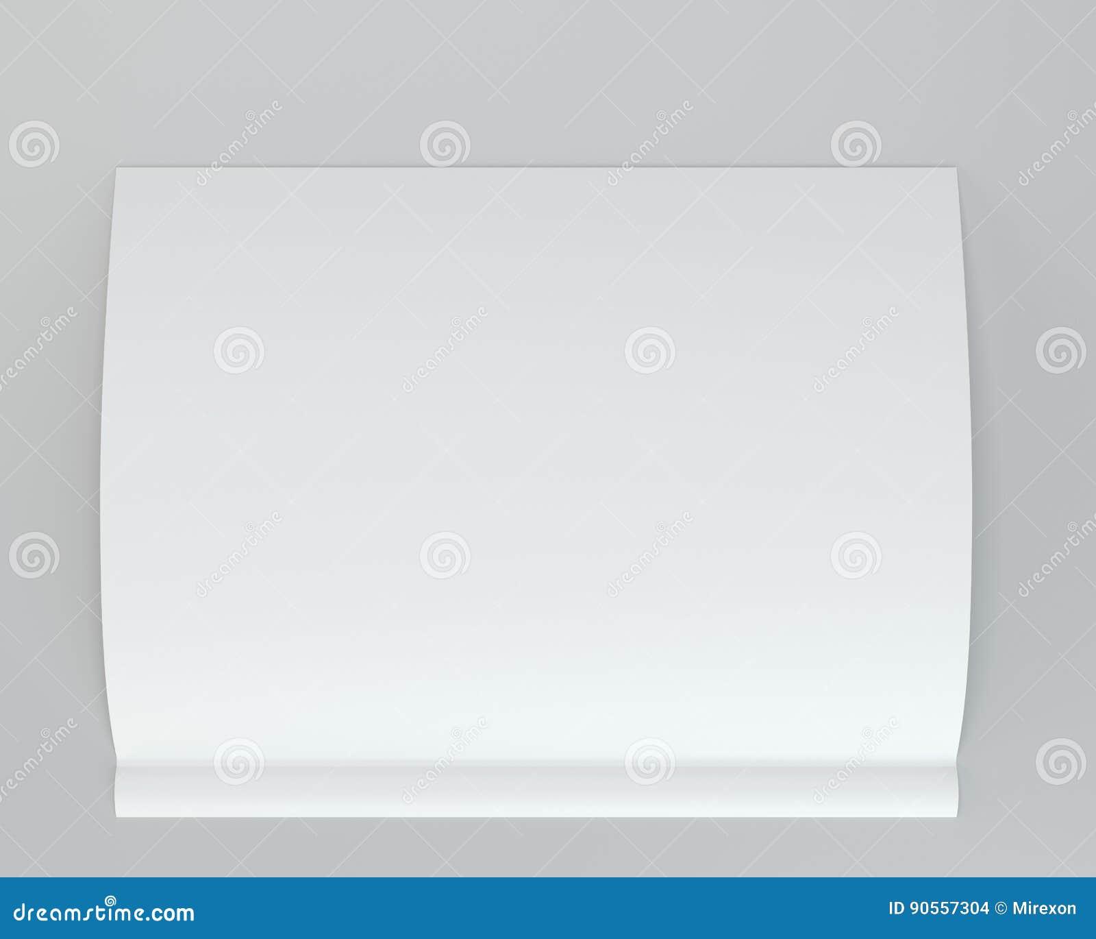 Soppressione il Libro Bianco piegato dell opuscolo rappresentazione 3d Fondo grigio