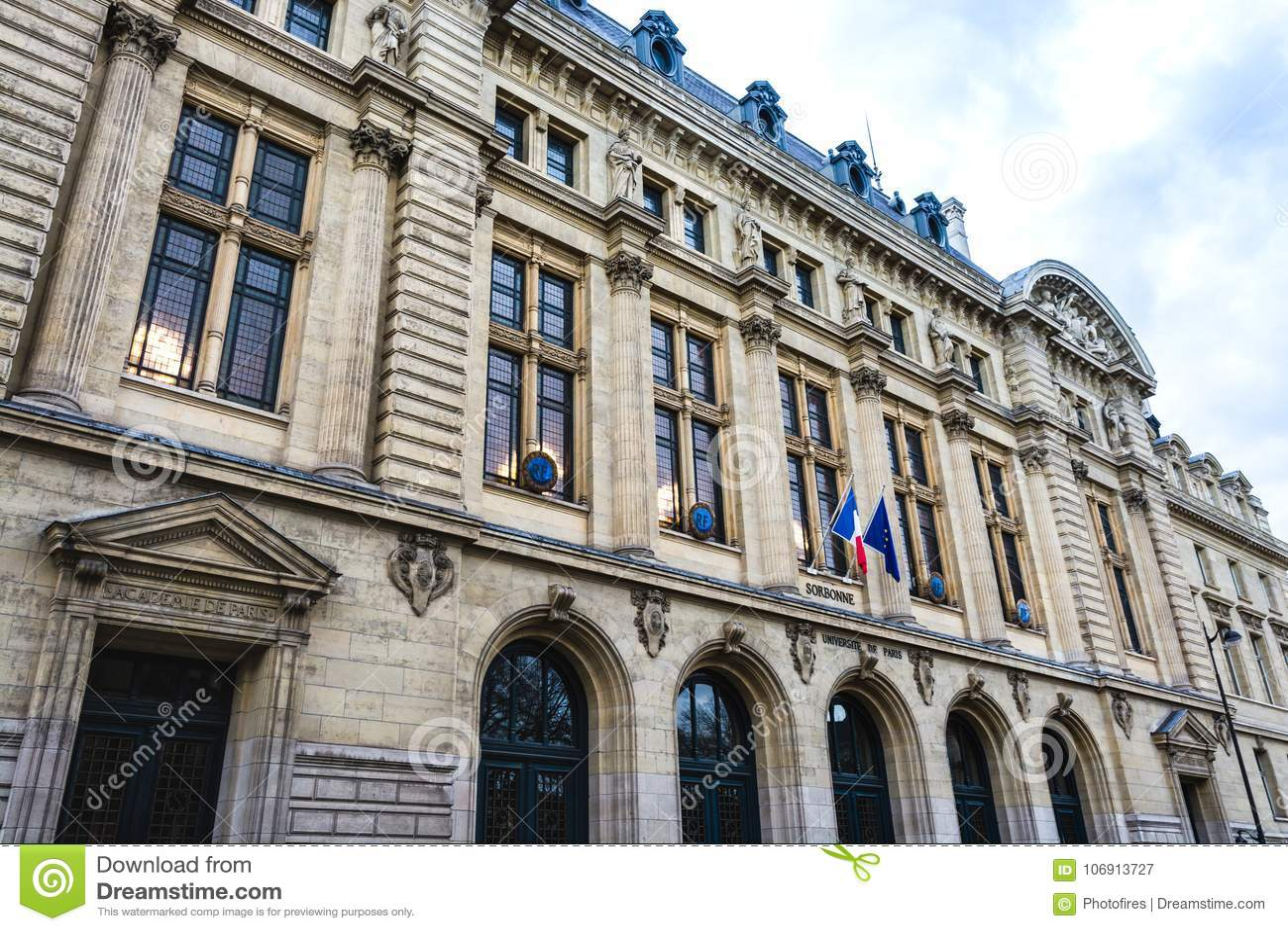Sorbonne Uniwersytecki budynek w Paryż