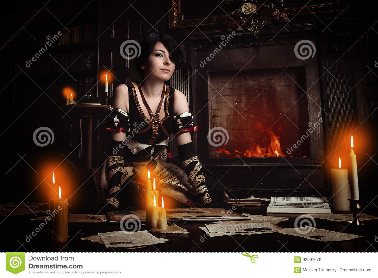 Sorceress with books.