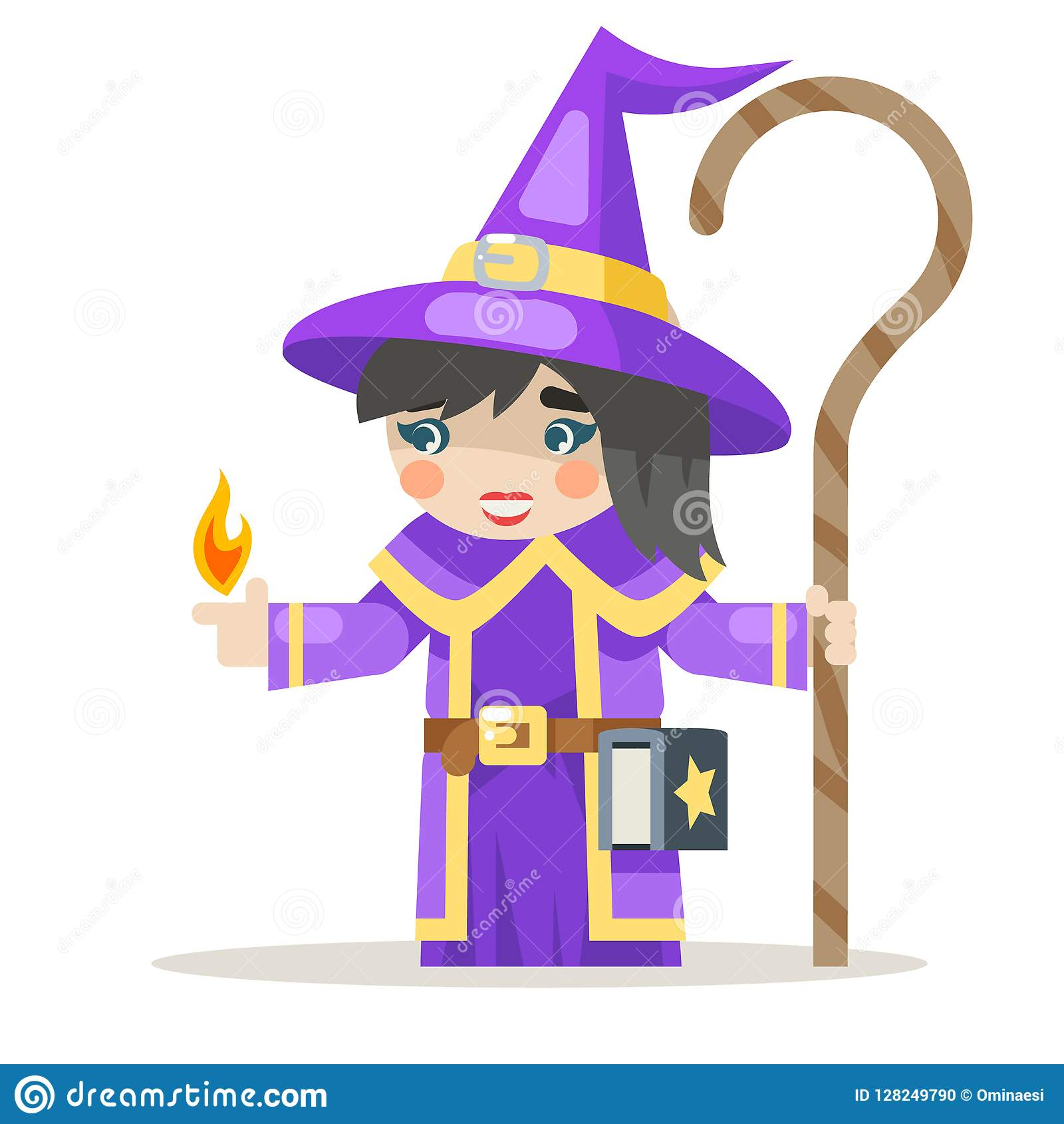 Sorceress layered girl mage warlock wisewoman female fantasy medieval action RPG game character animation ready vector