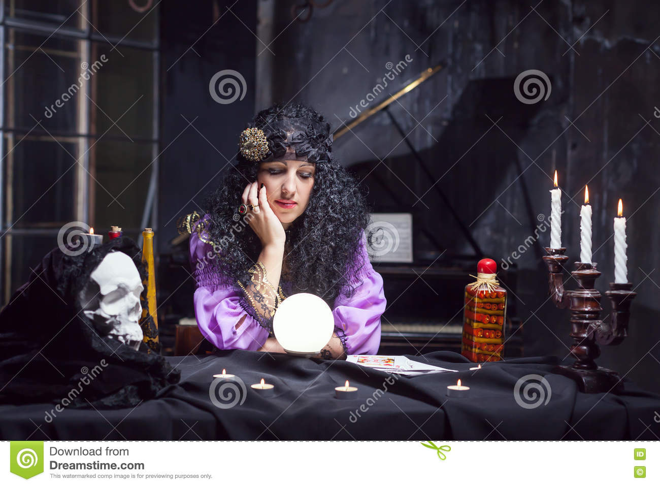 Sorceress While Practising Witchcraft Stock Photo - Image of