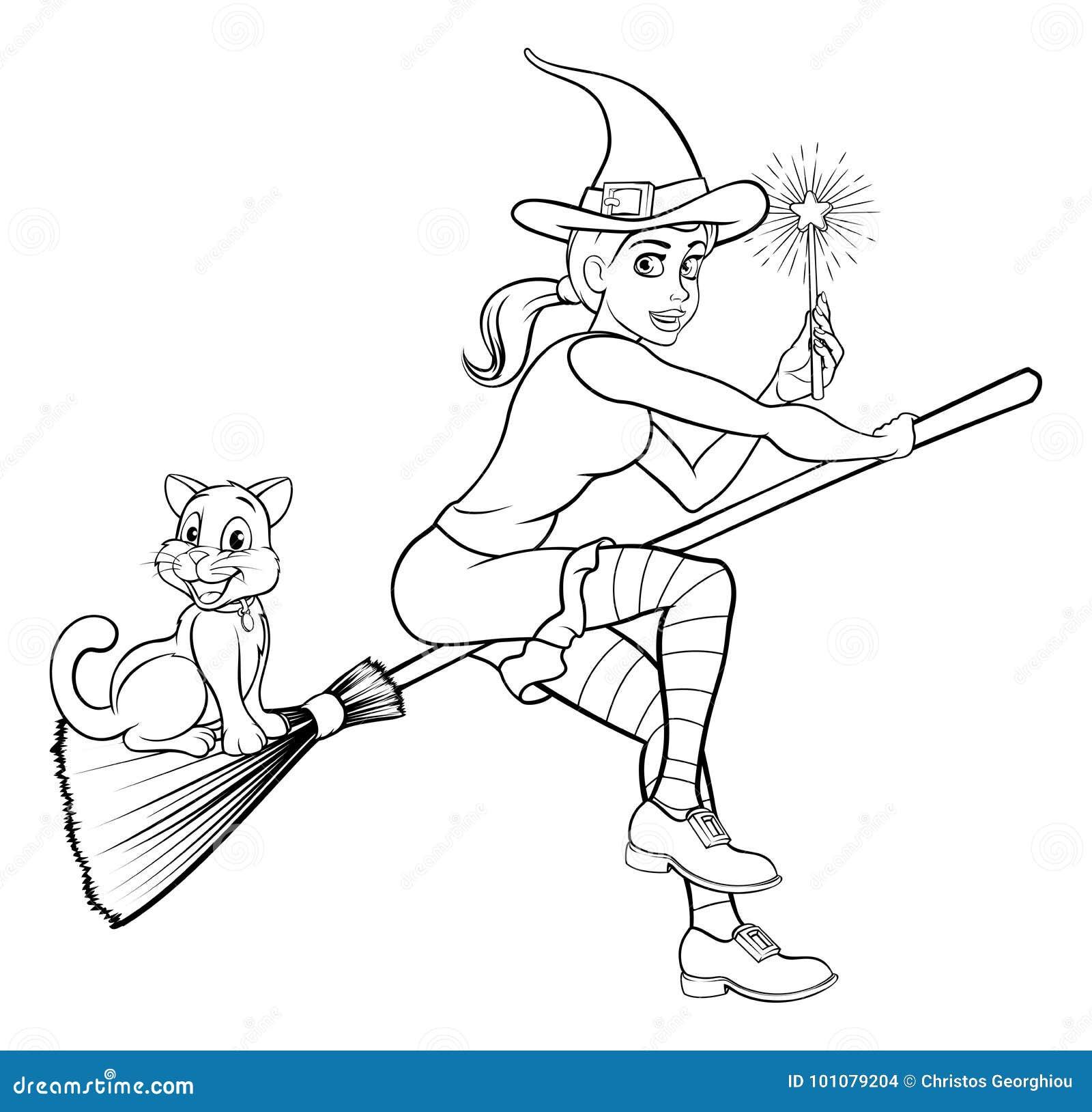 Coloriage Chat Volant.Sorciere Avec La Baguette Magique Et Le Chat Magiques Sur Le Manche
