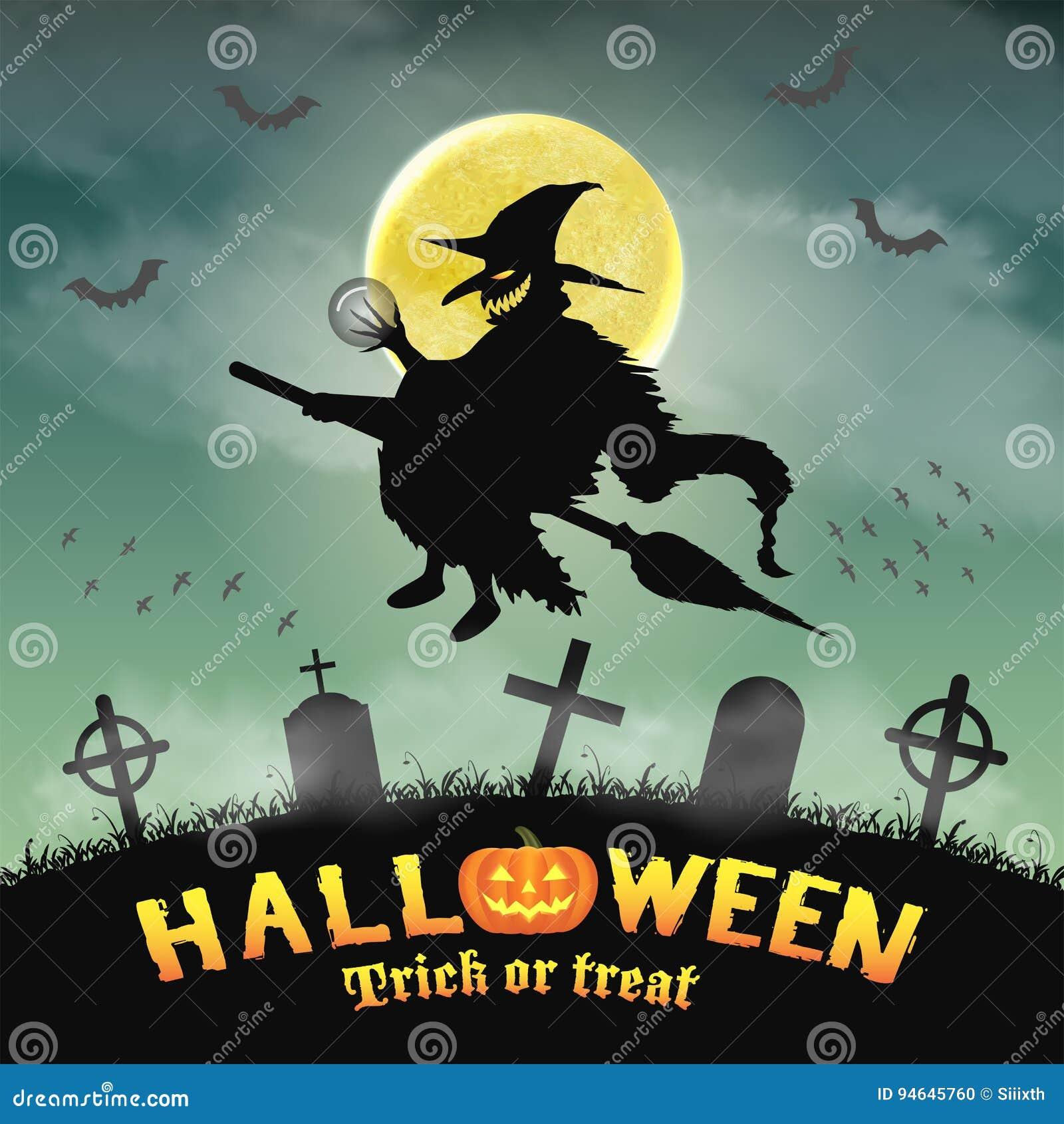 Sorcière De Vol De Silhouette De Halloween Dans Le Cimetière