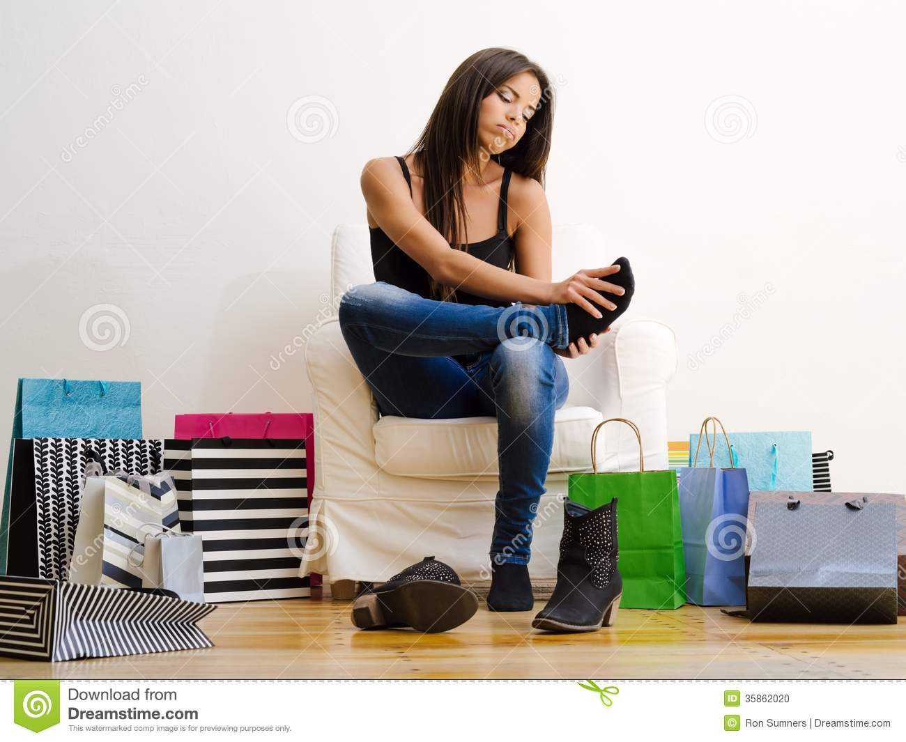 Sore feet from shopping stock photo. Image of lifestyle - 35862020