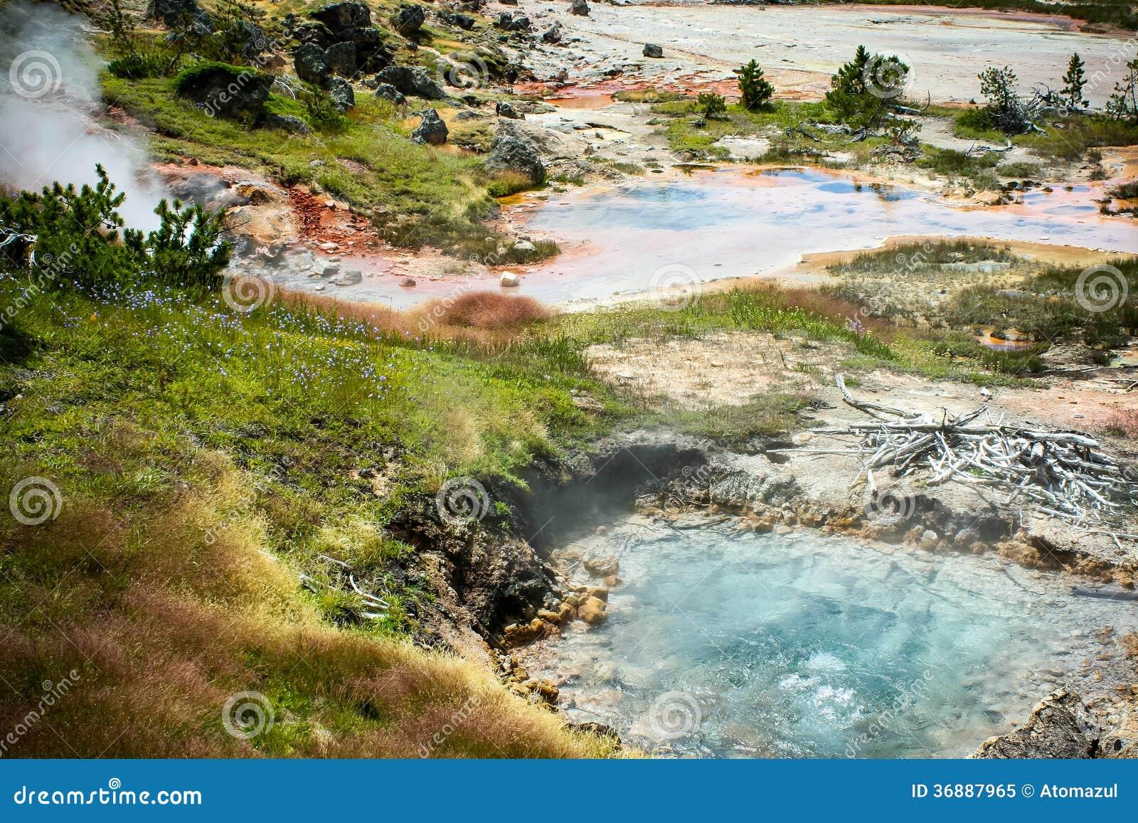 Download Sorgenti Di Acqua Calda Di Yellowstone Immagine Stock - Immagine di travertino, geyser: 36887965