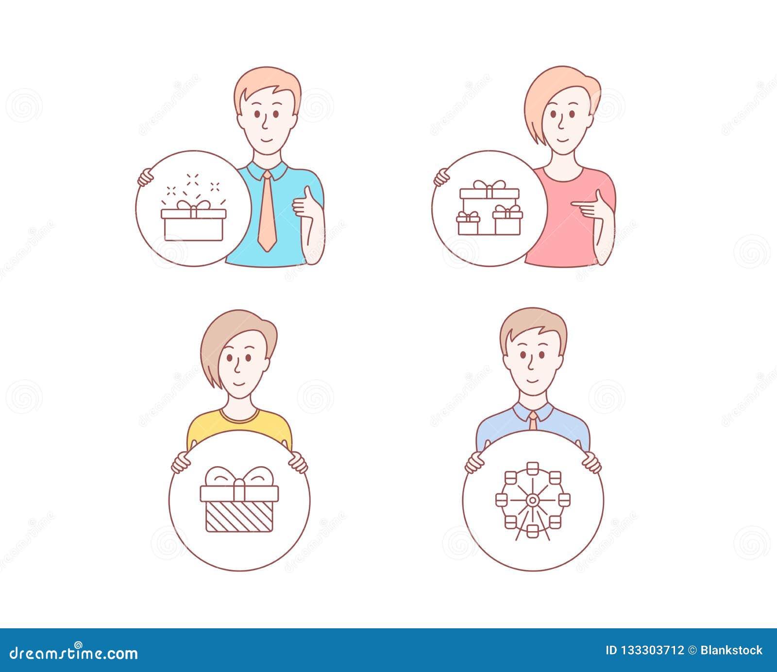 Sorprenda las cajas, el regalo y los actuales iconos de la caja Muestra de la noria Regalos de vacaciones, presente, oferta de la