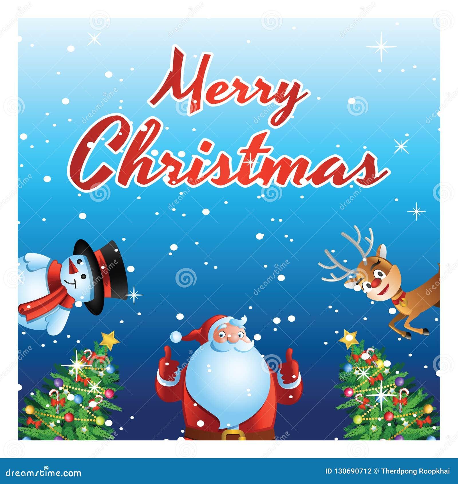 Sorpresa de Papá Noel, del muñeco de nieve y de los ciervos todo el mundo en el festival de Navidad, carro