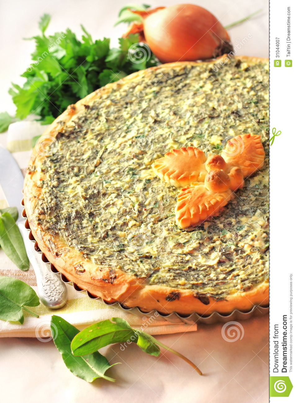 Sorrel Tart With Goat Cheese Royalty Free Stock Photography - Image ...