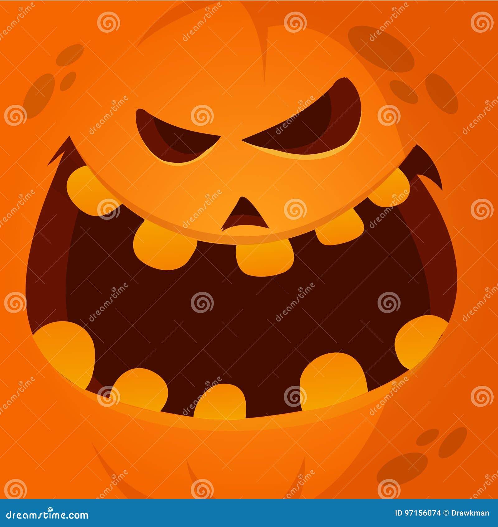 Sorridere divertente del fronte della zucca di Halloween del fumetto di vettore 189avatar
