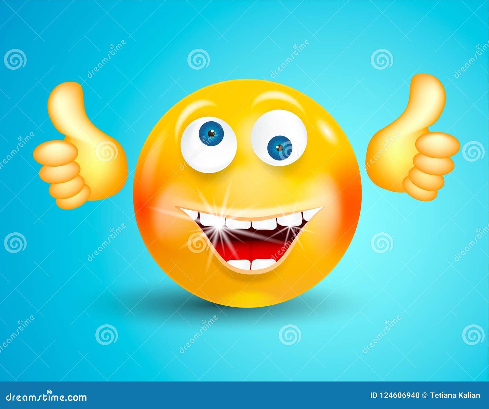 Sorridere felice con l emoticon brillante bianco dei denti o il fronte rotondo che mostra i pollici su o OKAY sul fondo blu lumin