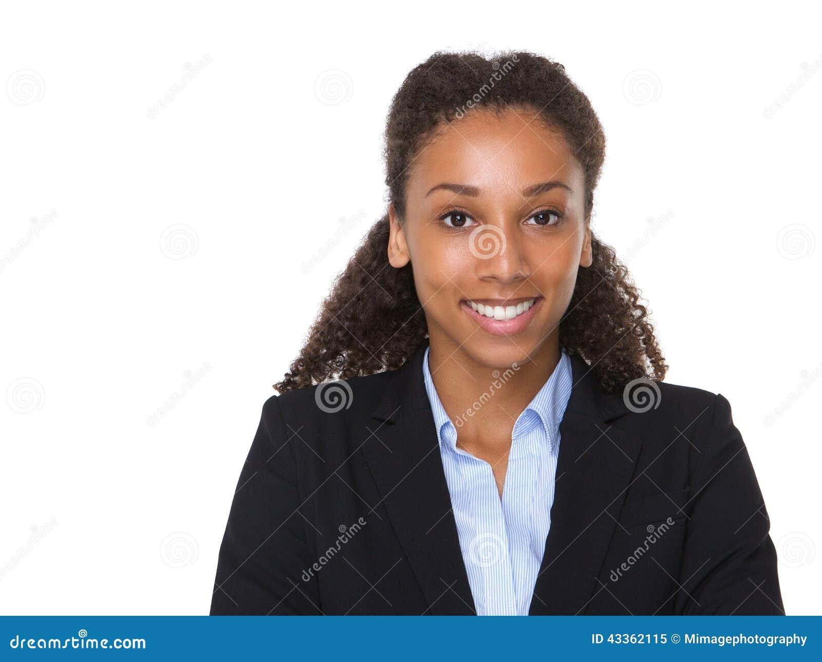 Sorriso afro-americano novo da mulher de negócio