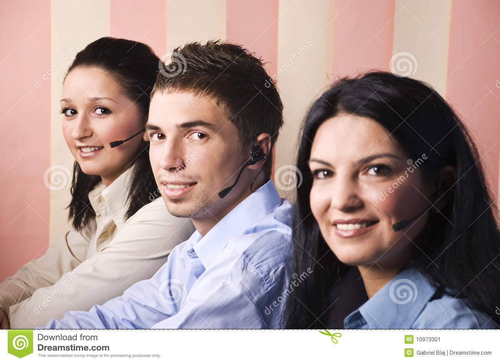 Sorriso de três operadores da sustentação