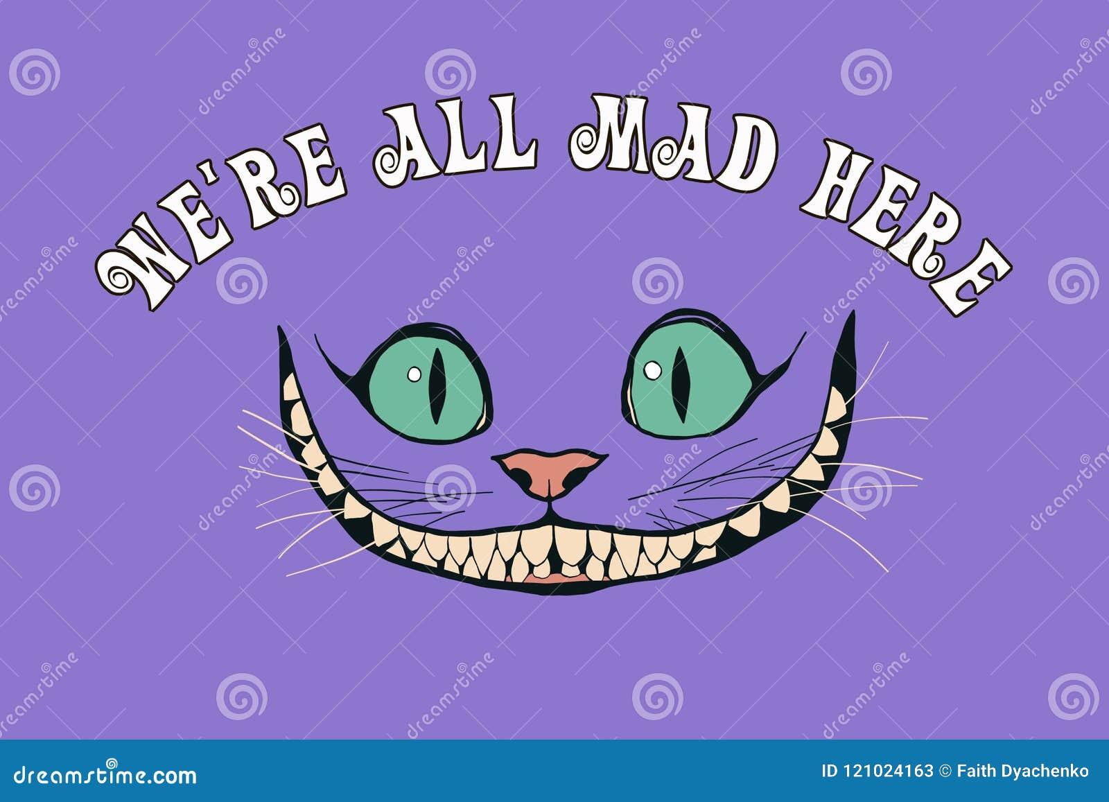 Sorriso de um gato de cheshire para o conto Alice no país das maravilhas