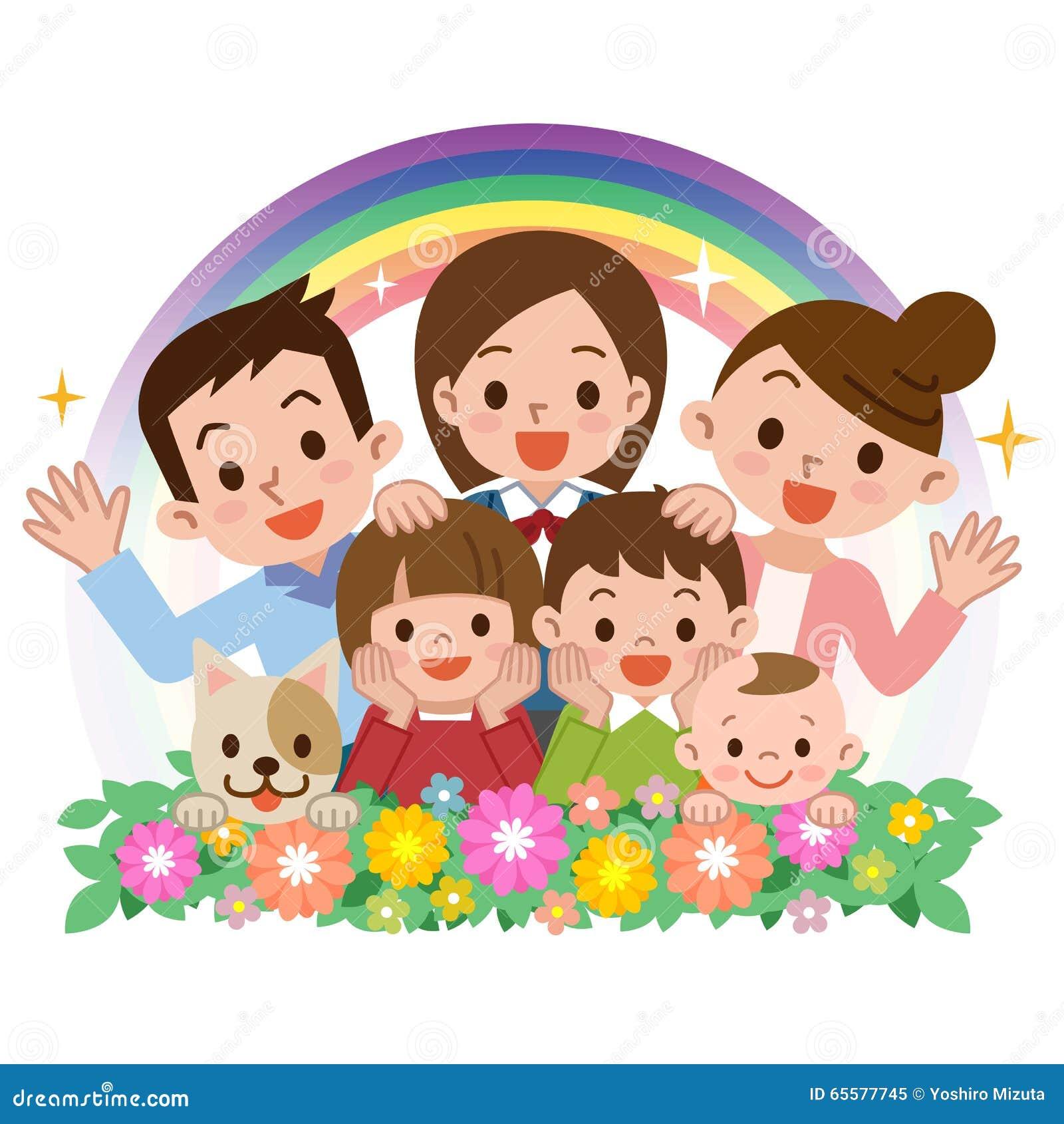 Sorriso de uma família feliz