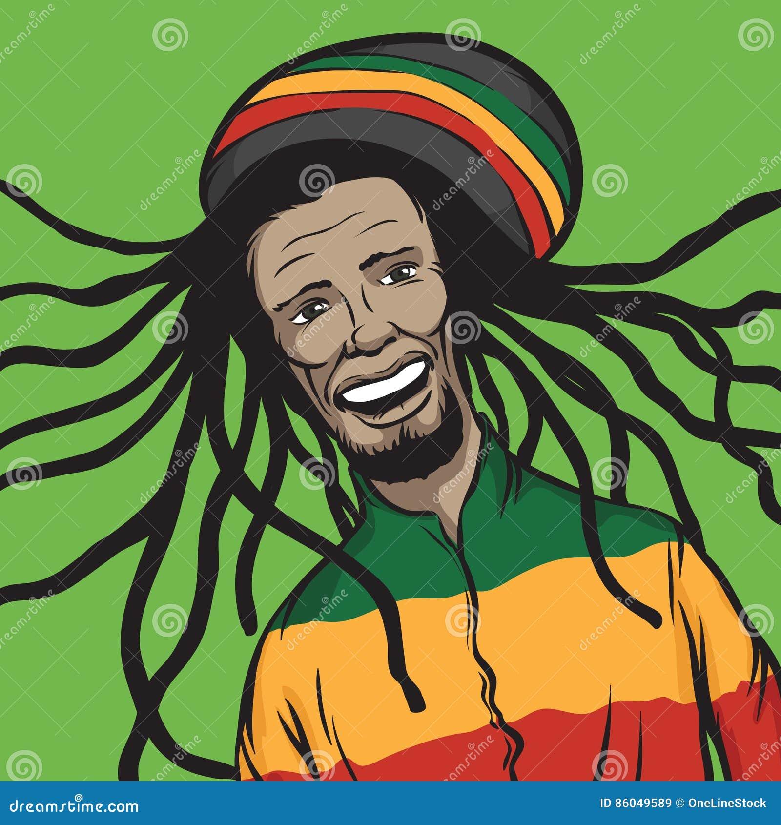 Sorriso Do Homem Da Reggae Ilustracao Do Vetor Ilustracao De