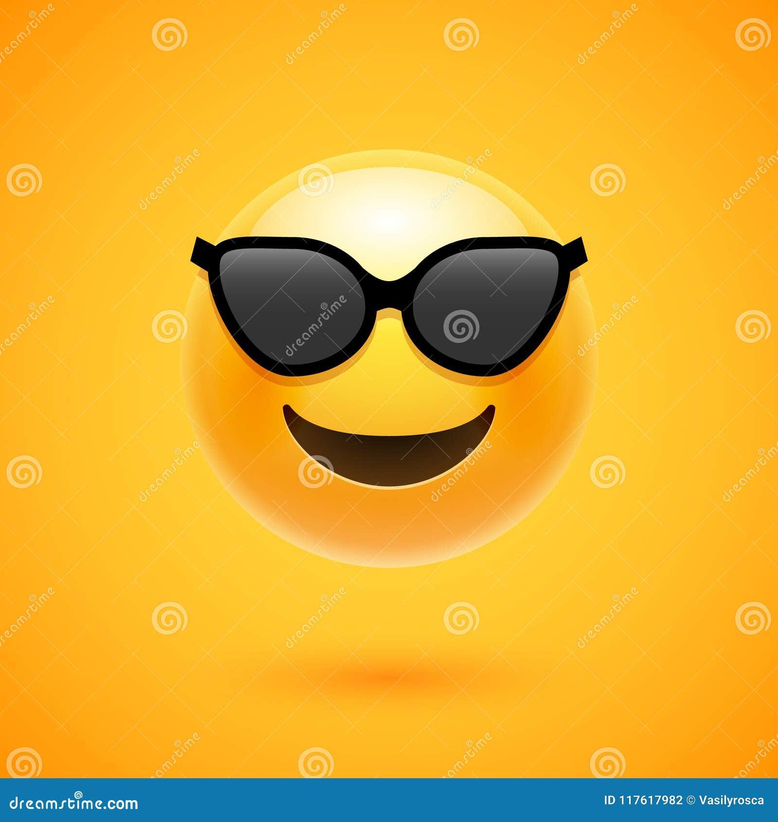 Sorriso felice di emoji nei sunglass illustrazione isolata