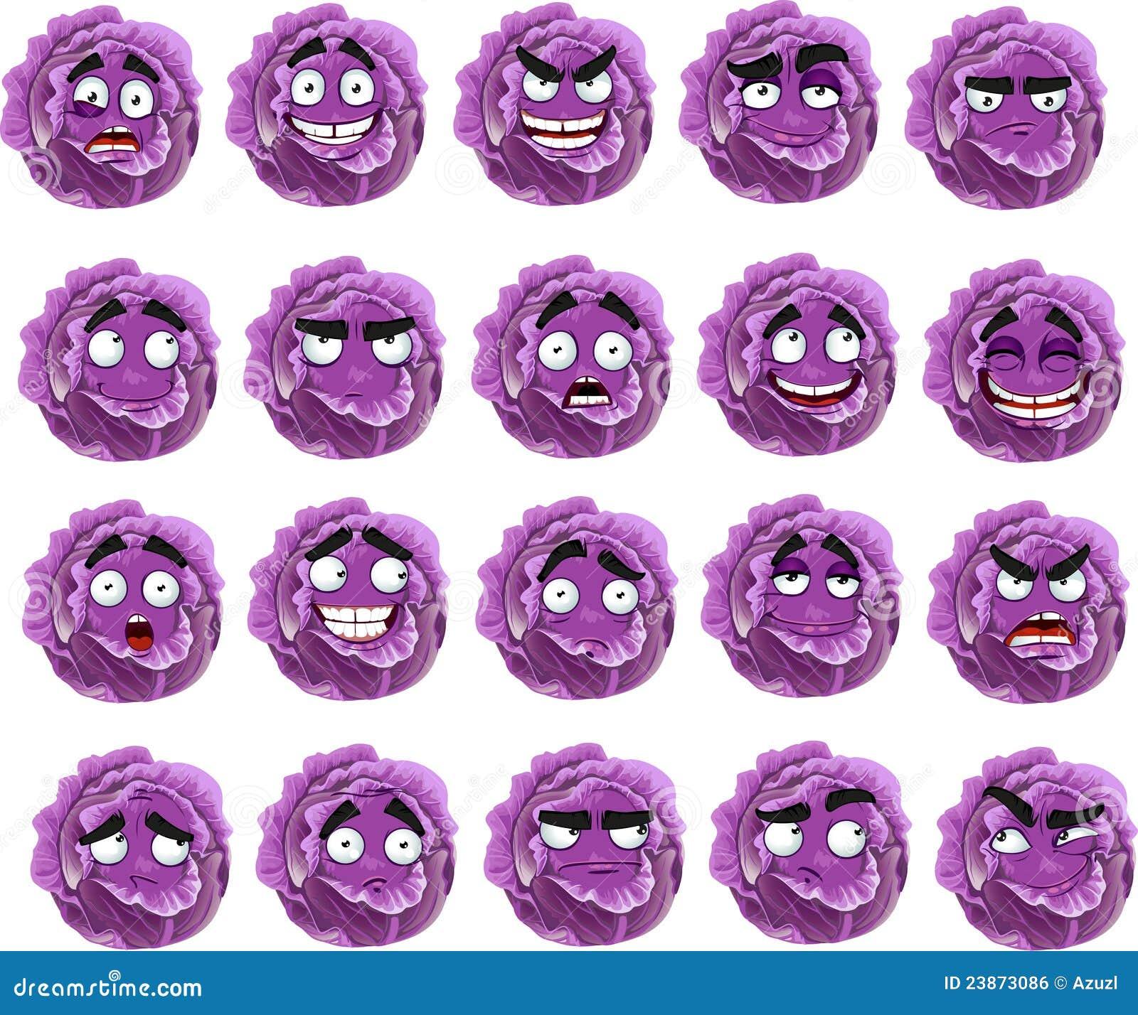 Sorriso viola del cavolo fumetto con molte espressioni