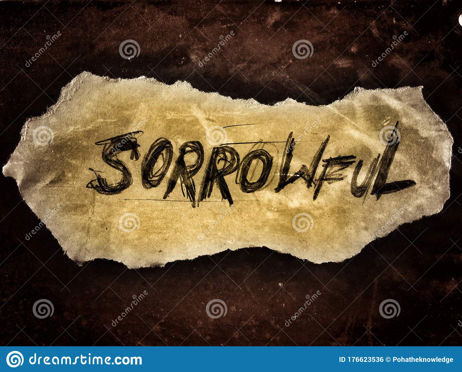 Sorrowful Word Written In Rough Written Style On The Small Piece Of Paper  Stock Photo - Image of paper, word: 176623536