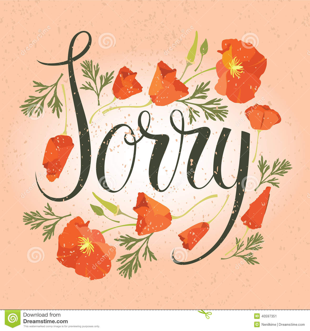Sorry Card With Red Flowers  Apology Card Messages