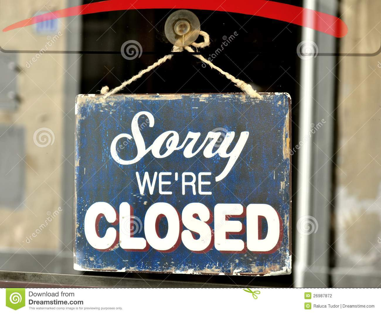 sorry closed sign 26987872