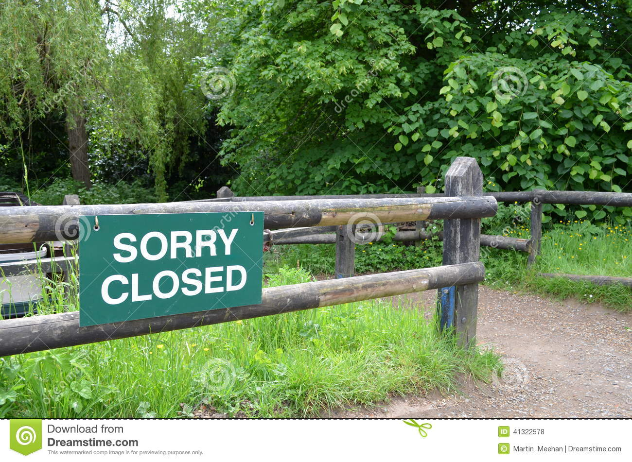 Sorry closed sign.