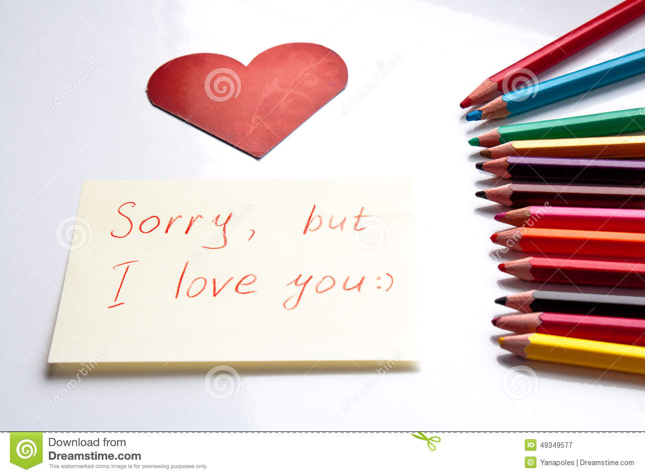sorry, but i love you stock image. image of letter, crayon - 49349577