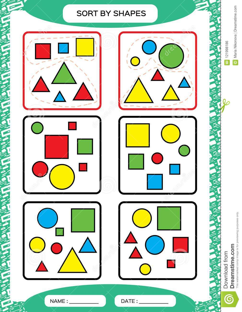 Sort By Shapes Sorting Game Group By Shapes Square Circle