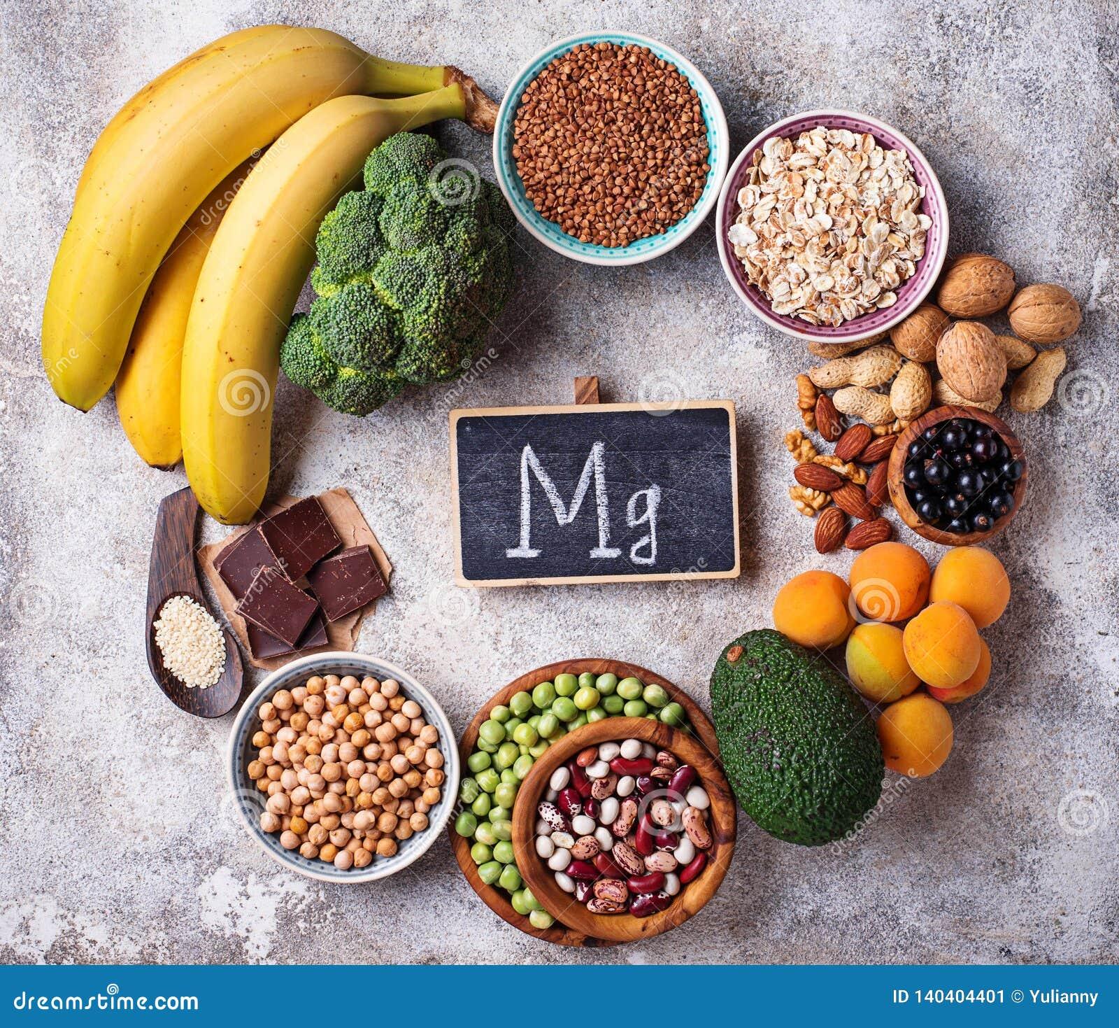 Sortiment av mat som innehåller magnesium