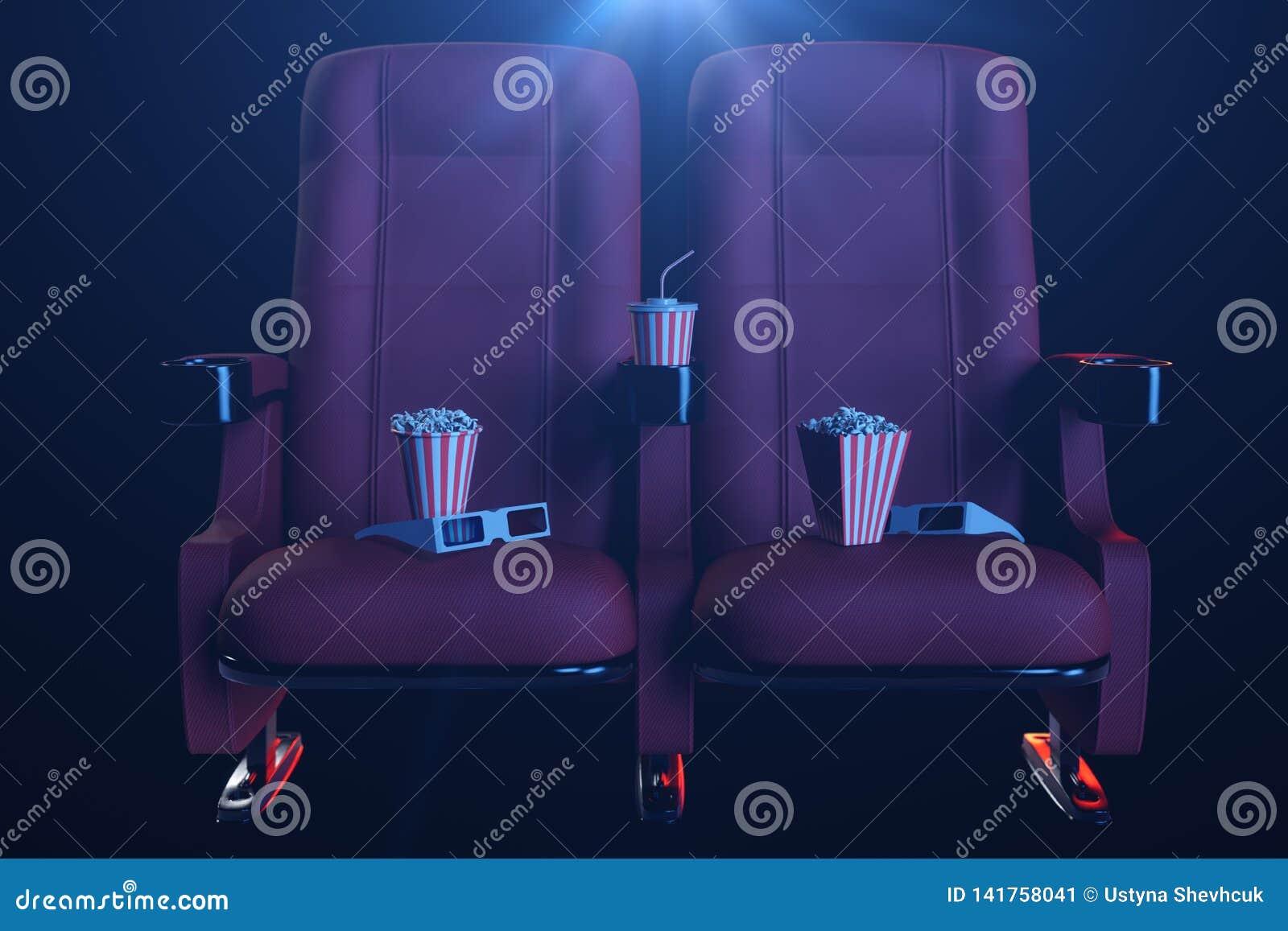 Sorveglianza di film del cinema Composizione con i vetri 3d, il popcorn e la tazza con una bevanda Concetto del cinema con luce b