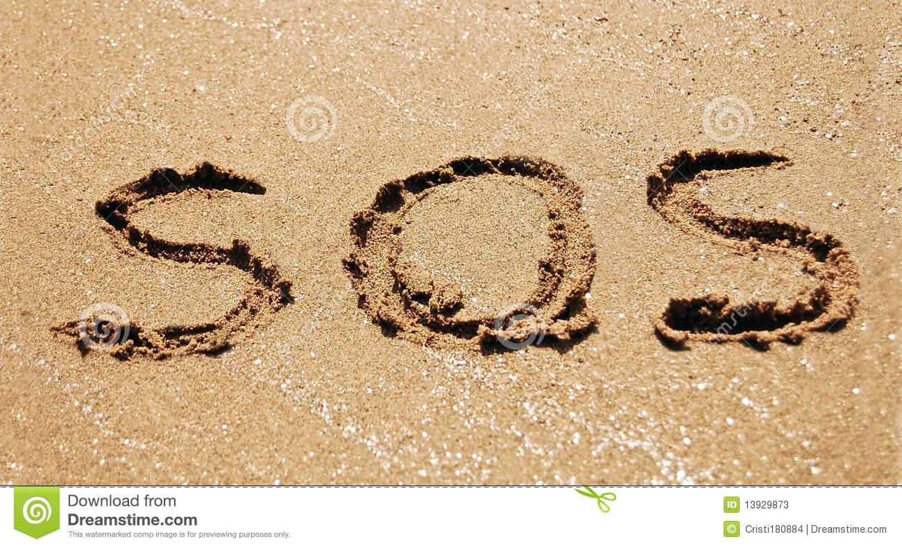 Sos In Sand Stock Photos Image 13929873