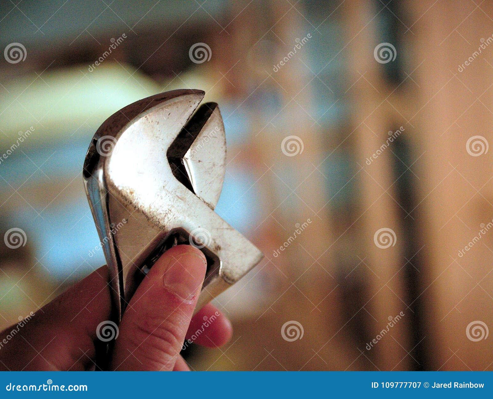 Sostener una llave creciente en mi mano en taller