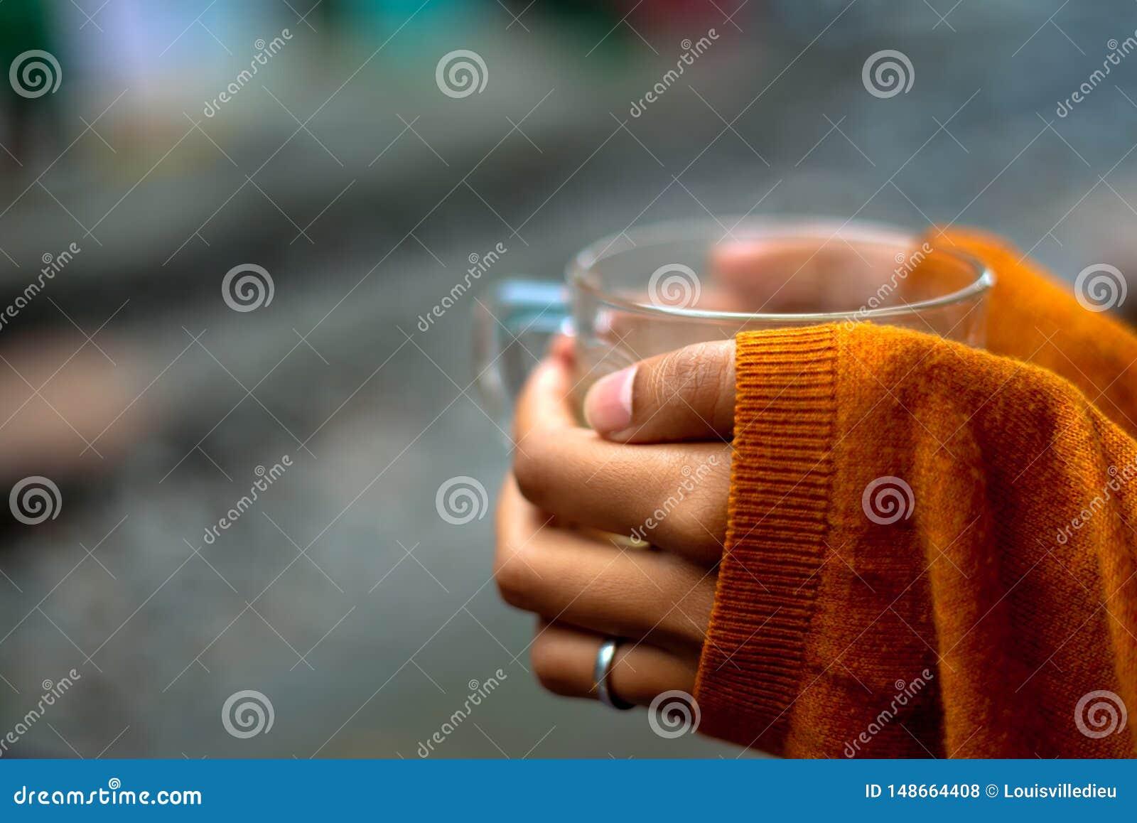 Sostener una taza de té por el jersey de los carriles que cubre las manos por mitad