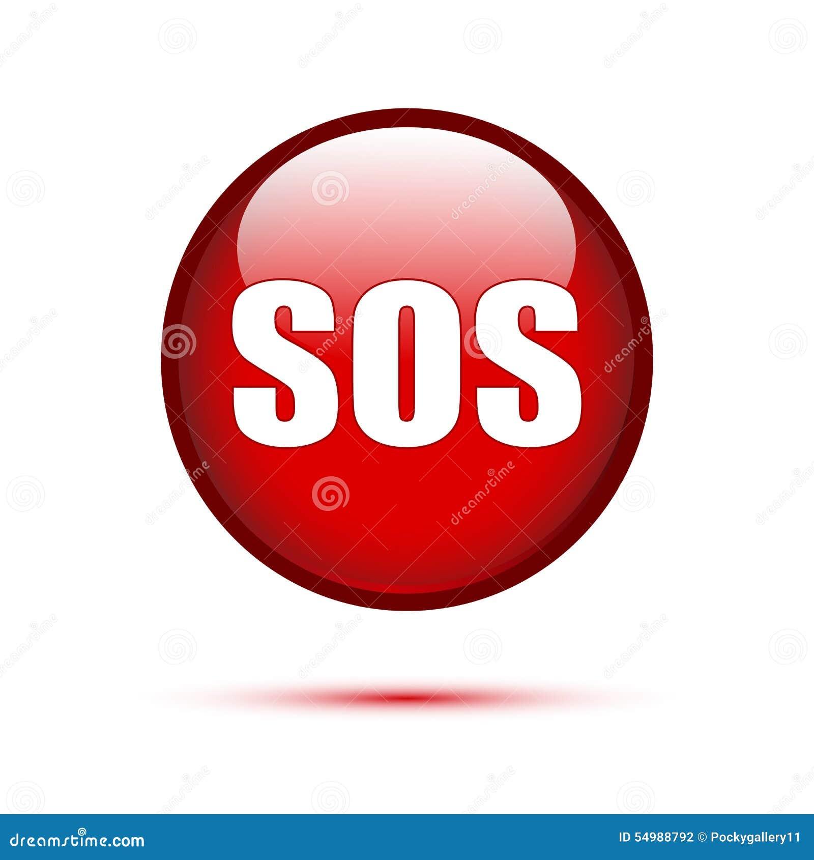 SOStext på den röda knappen