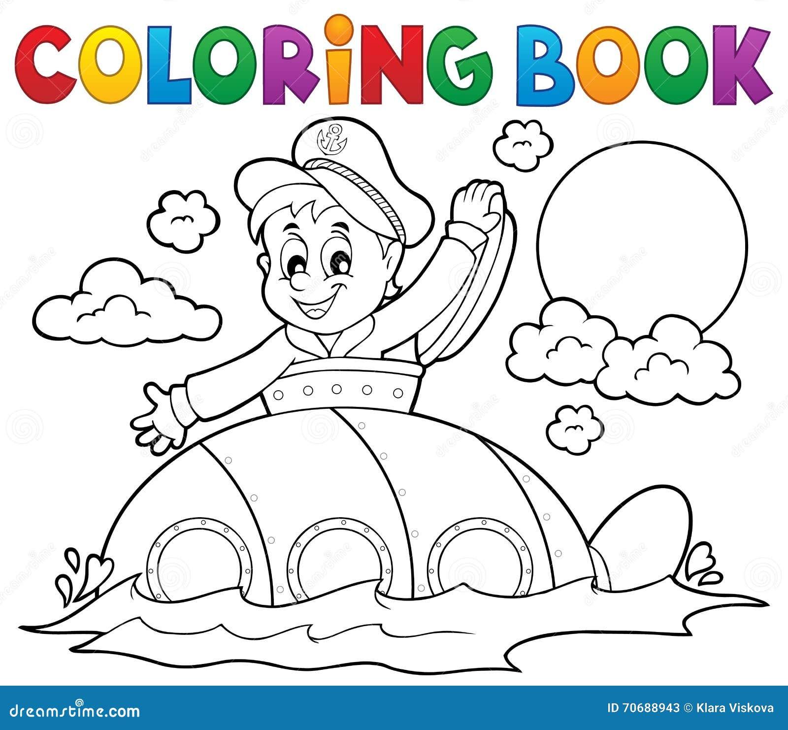 Sottomarino Del Libro Da Colorare Con Il Marinaio Illustrazione