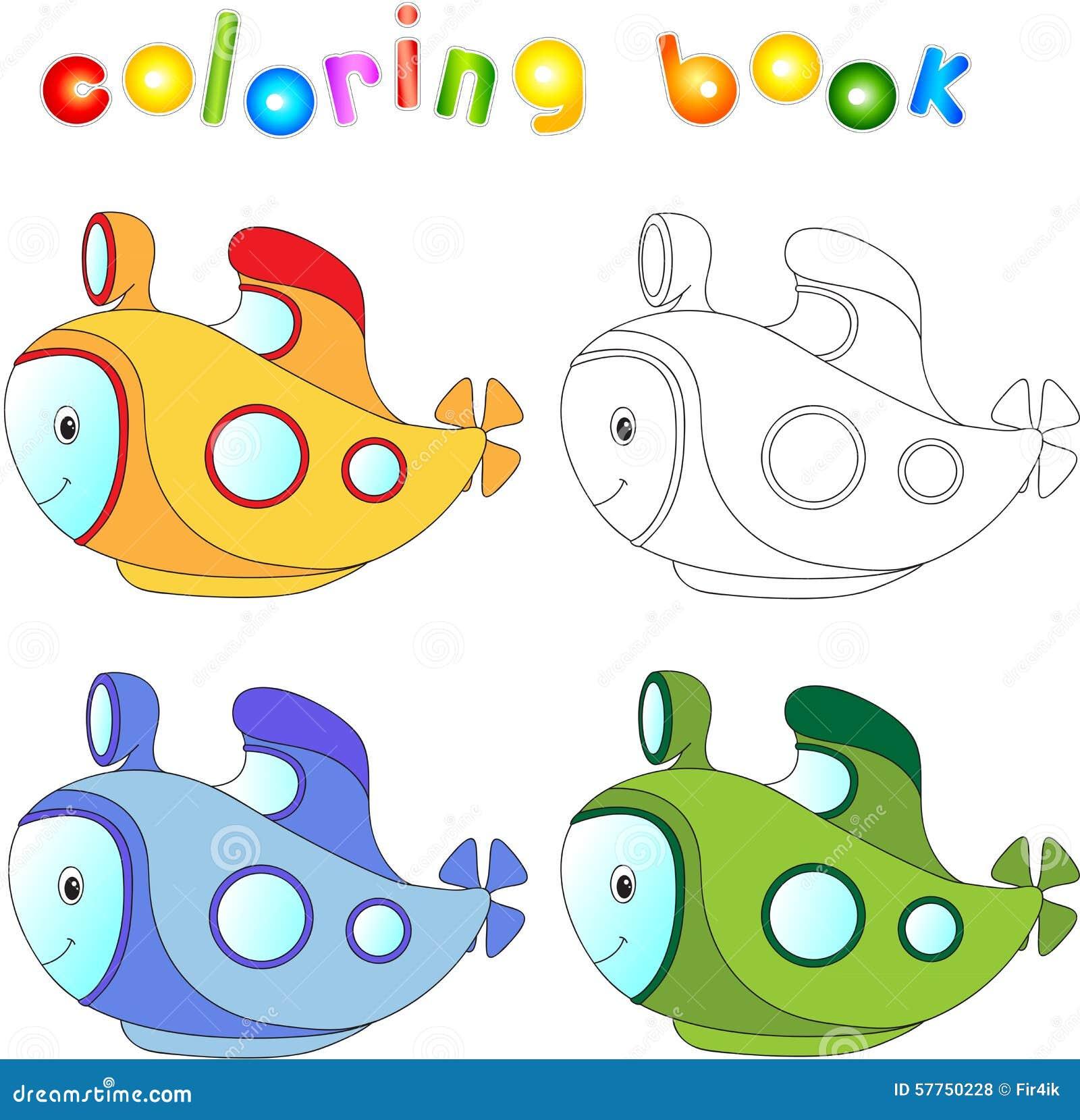 Sottomarino Divertente Del Fumetto Libro Da Colorare Per I Bambini