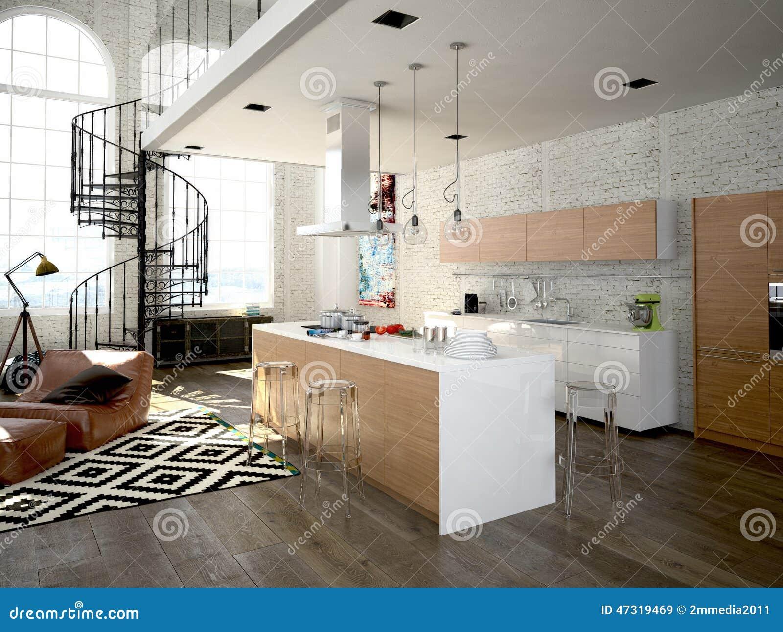Sottotetto moderno con una cucina rappresentazione 3d for Mobilia arredamento 3d