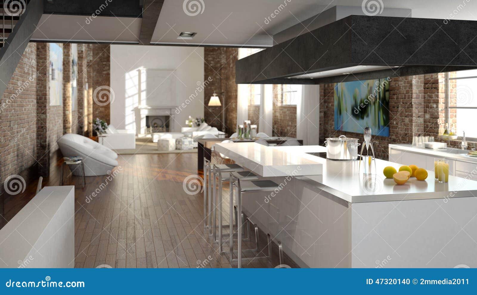 Sottotetto Moderno Con Una Cucina Rappresentazione 3d ...