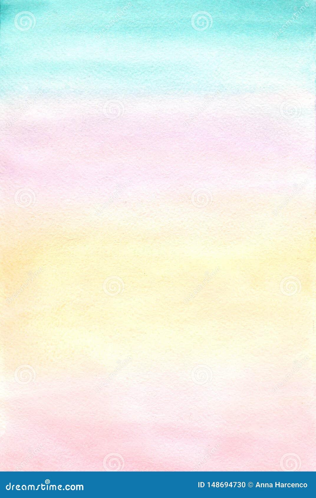 Sottragga la priorit? bassa Pittura dell acquerello Bianco, rosa, turchese, pendenza gialla Pittura di arte di Digital