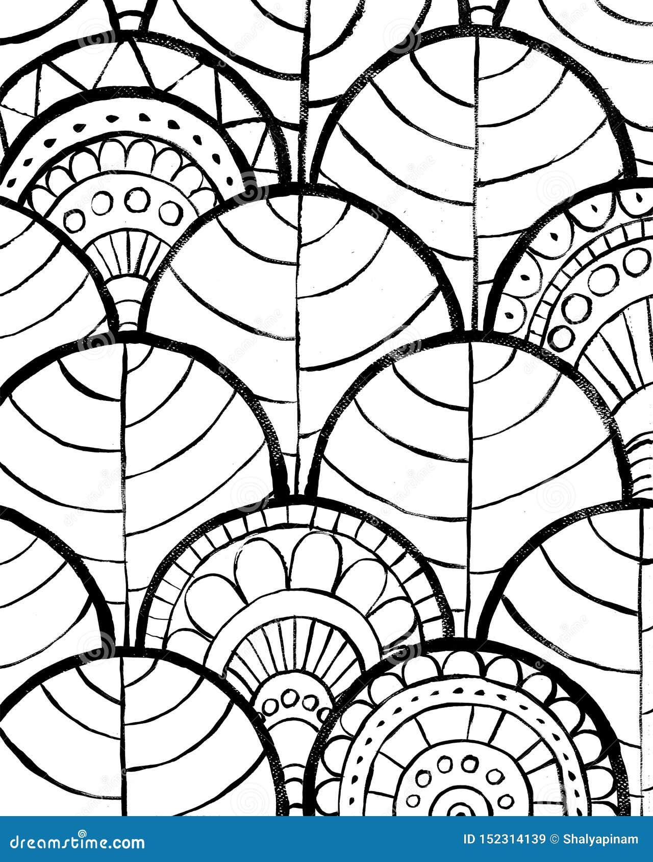 Sottragga la priorit? bassa Progettazione decorativa disegnata a mano nera su fondo bianco Progettazione decorativa per gli inter