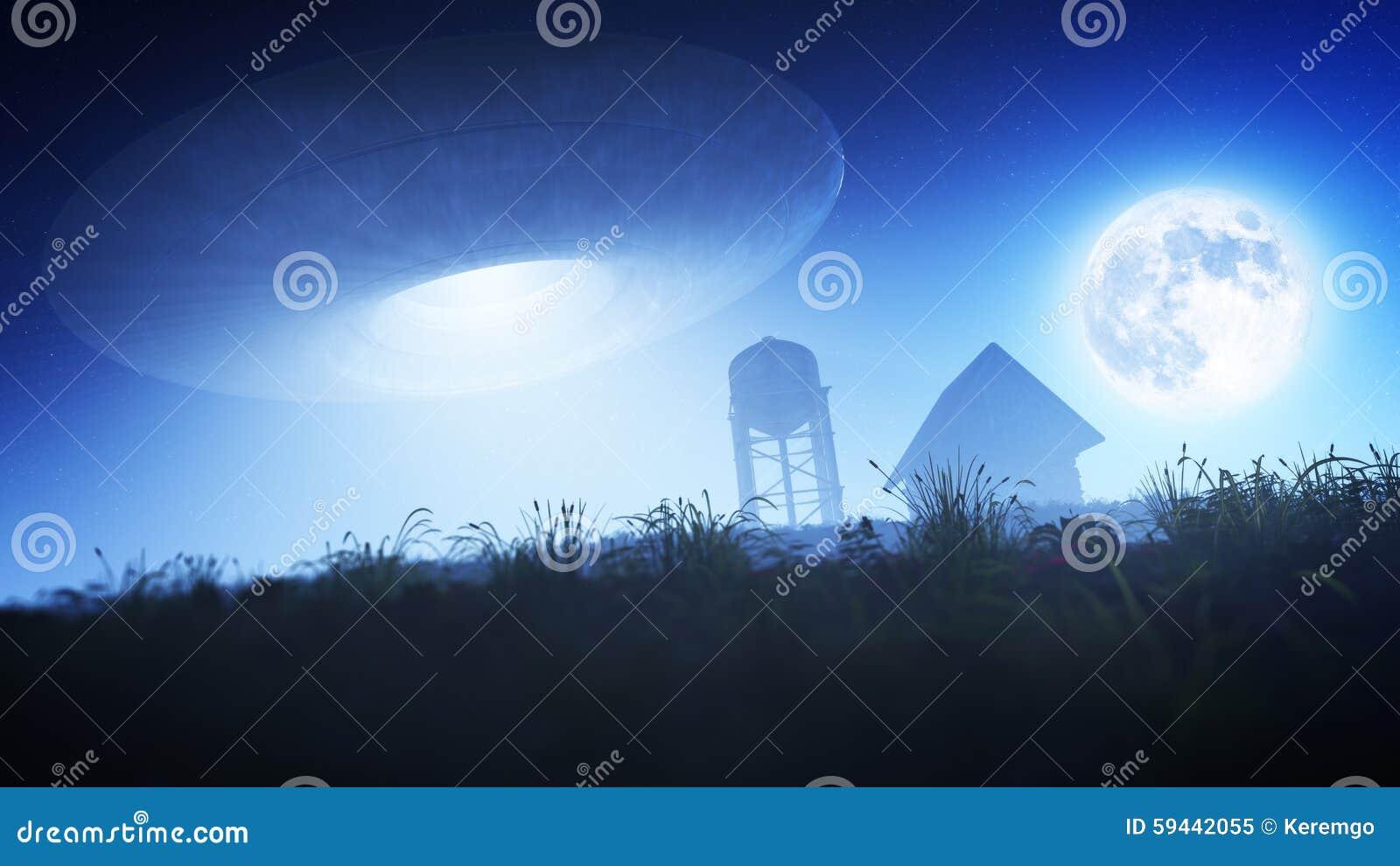 soucoupe volante au dessus de ferme la nuit illustration stock image 59442055. Black Bedroom Furniture Sets. Home Design Ideas