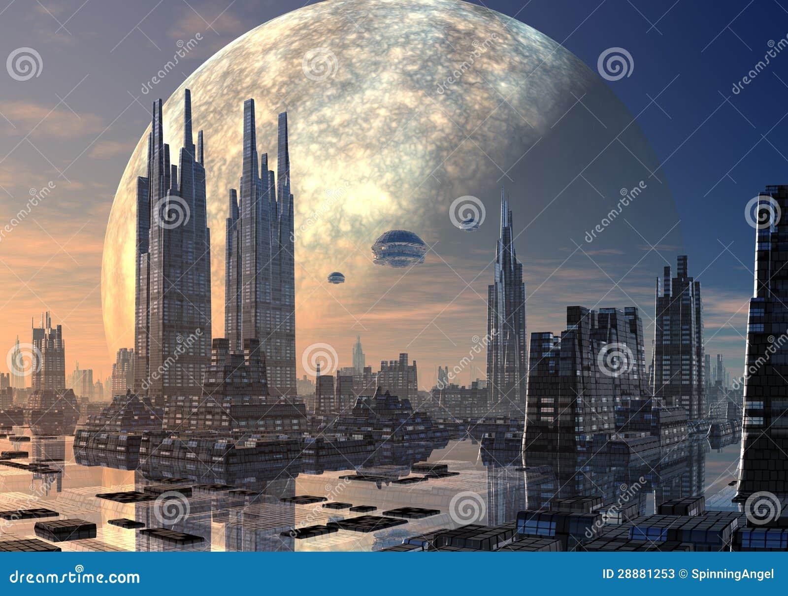 Soucoupes volantes au-dessus du paysage urbain moderne