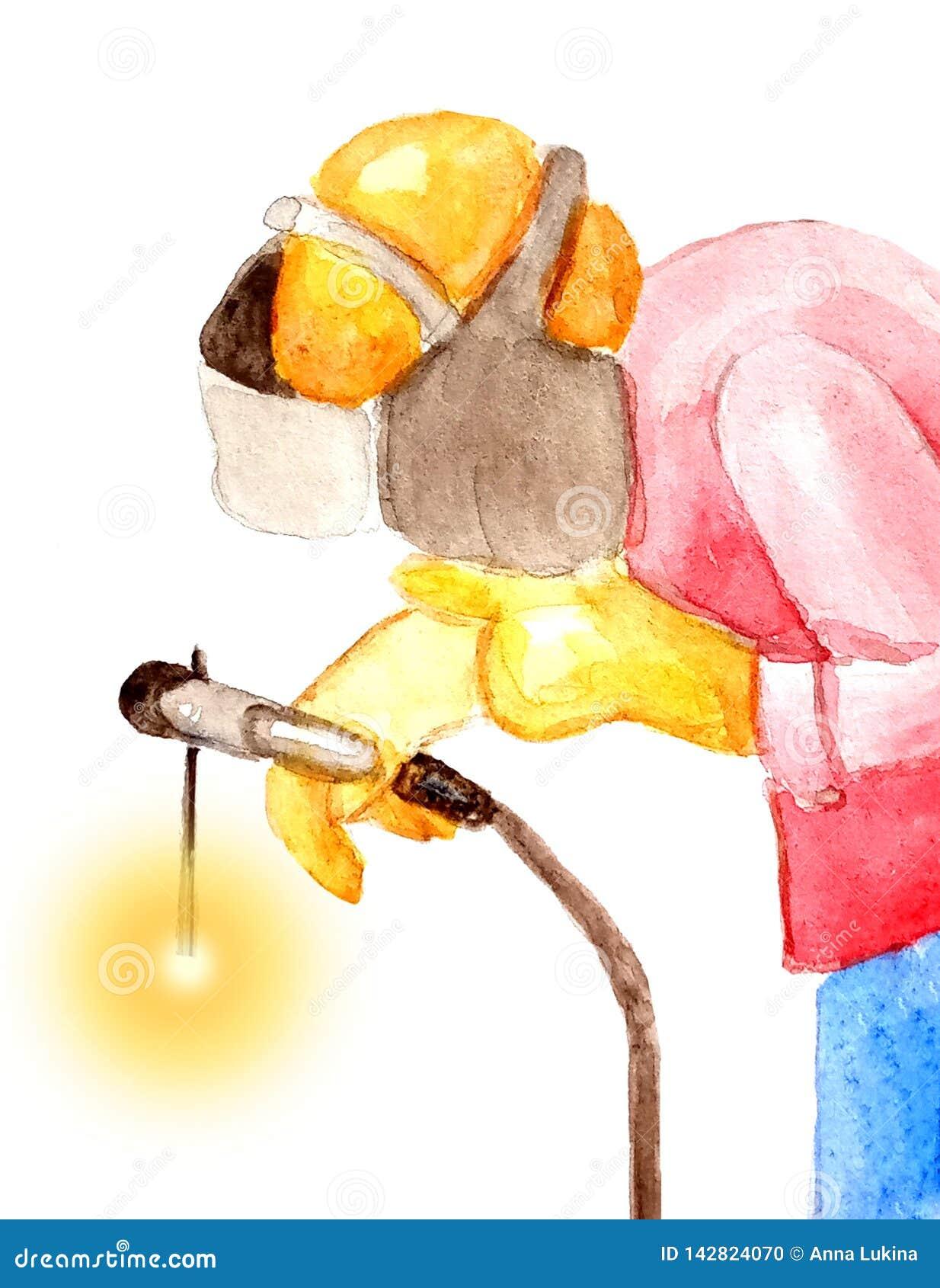 Soudeuse masculine de portrait soudant dans un casque de protection sur un fond blanc