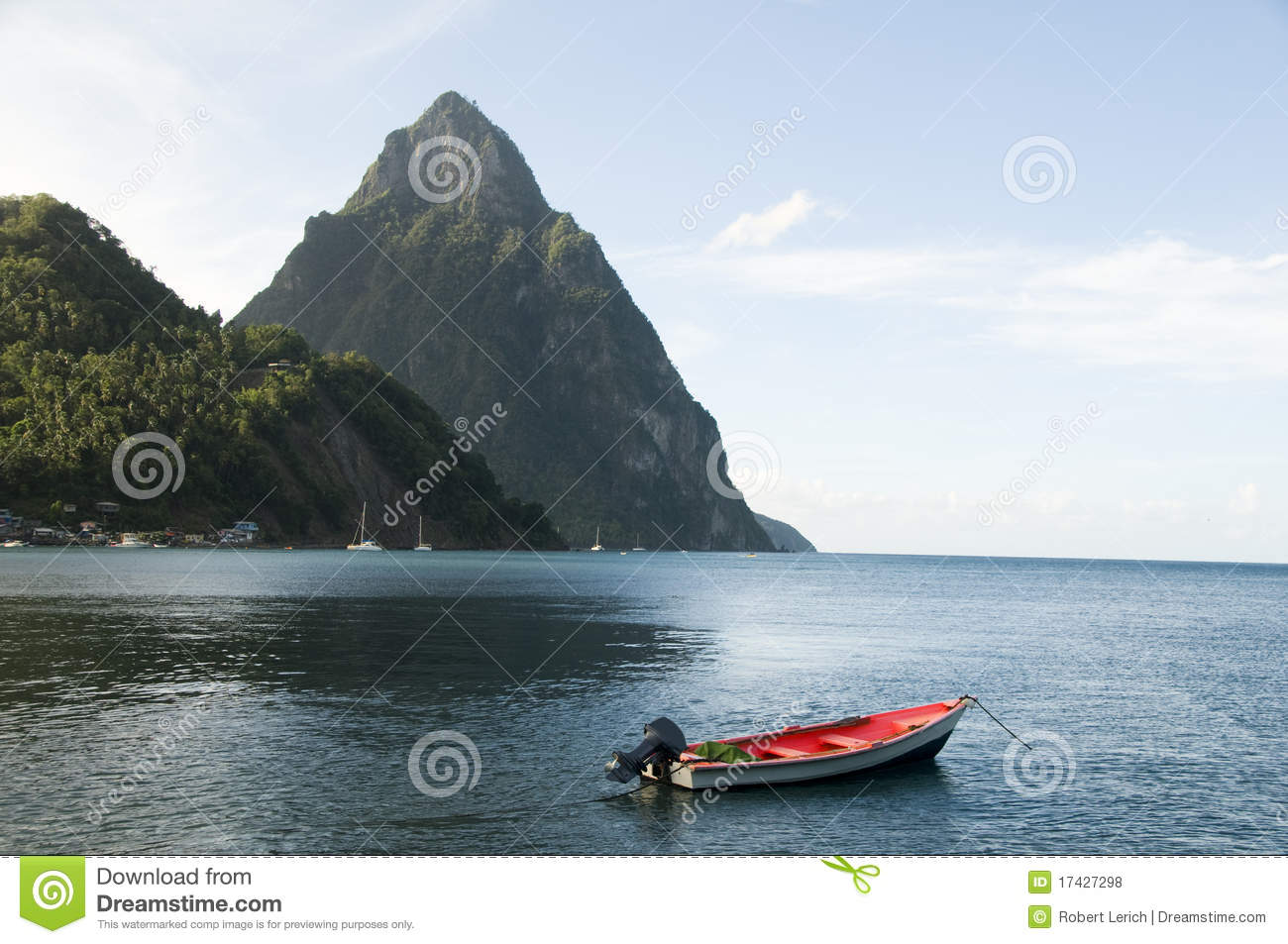 Soufriere St. Lucia Piton Peaks Fishing Boat Royalty Free Stock Photos - Image: 17427298