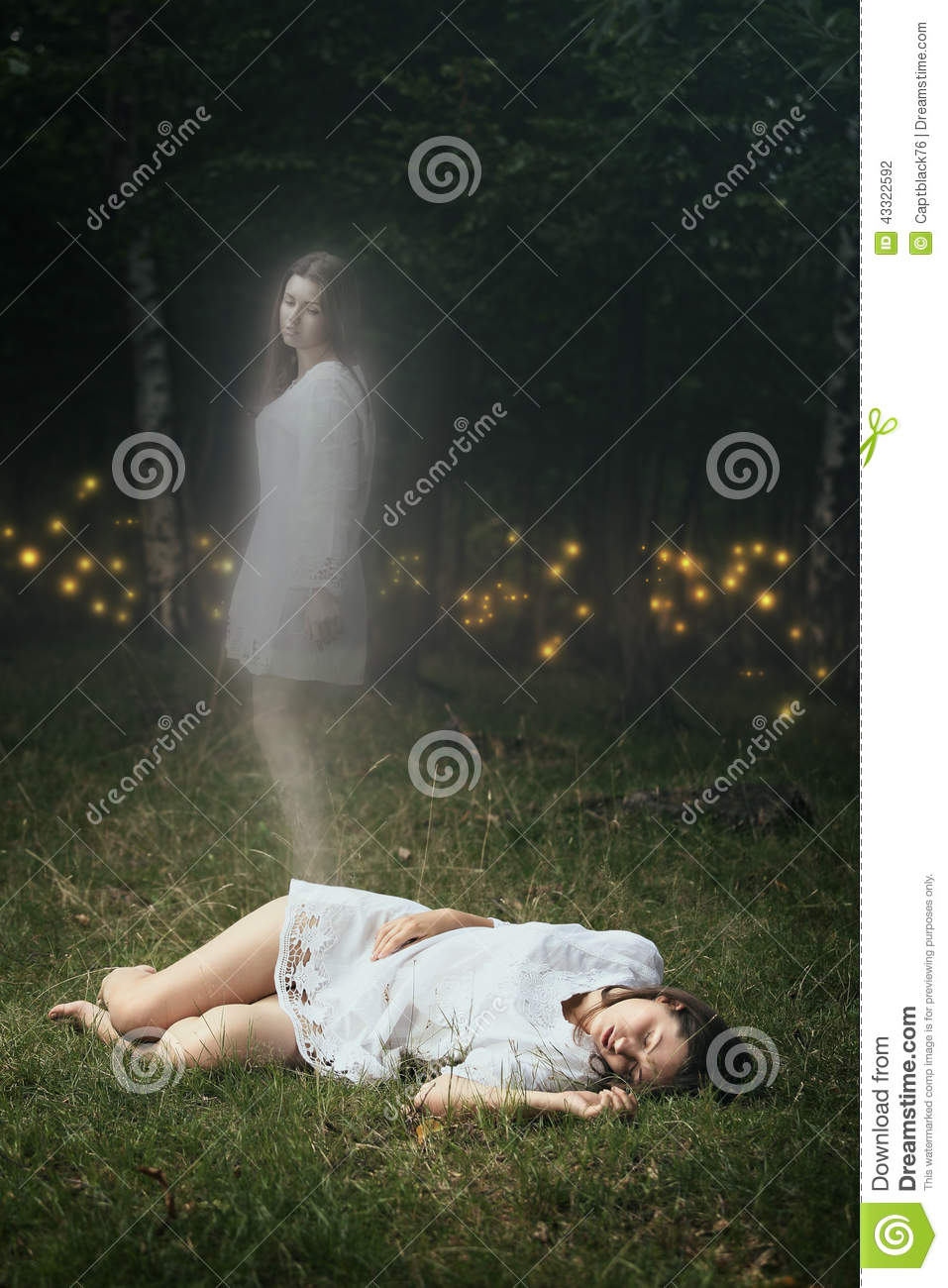 Soul Of A Dead Girl Is Leaving Her Body Stock Photo ...